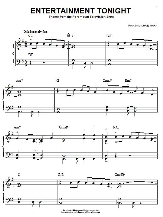 Partition piano Entertainment Tonight de Michael Mark - Piano Facile