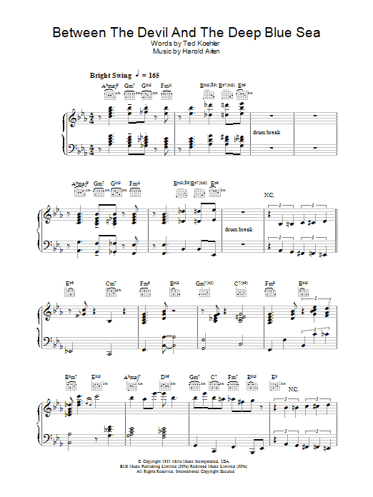 Between The Devil And The Deep Blue Sea sheet music for piano solo by Ted Koehler