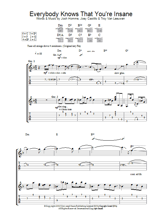 Everybody Knows That You Are Insane sheet music for guitar solo (tablature) by Troy Van Leeuwen