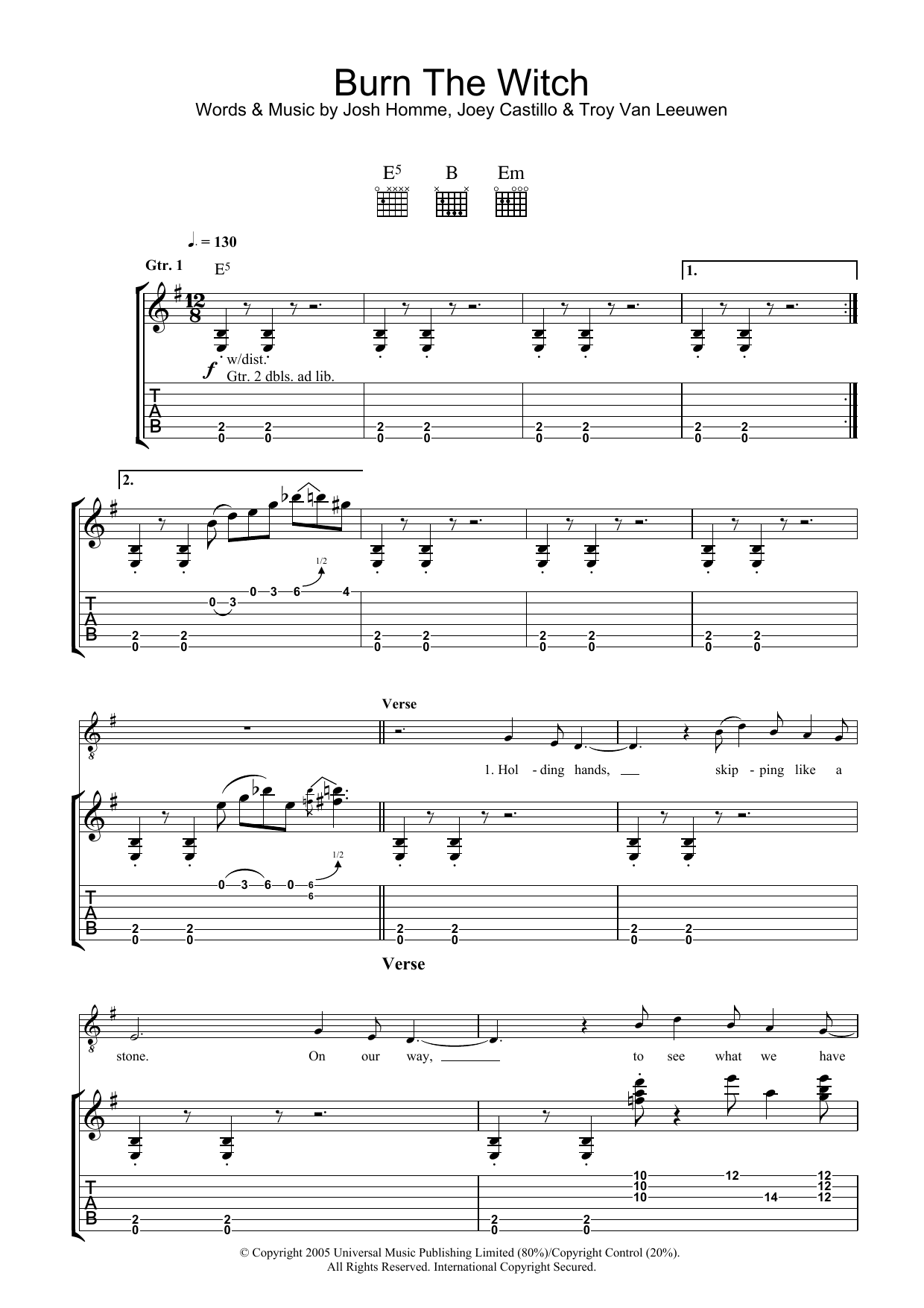 Burn The Witch sheet music for guitar solo (tablature) by Troy Van Leeuwen