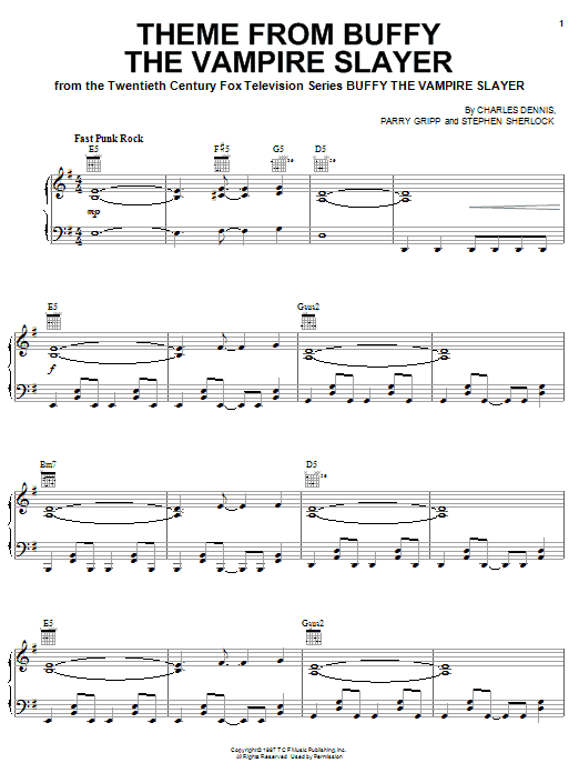 Partition piano Theme From Buffy The Vampire Slayer de Charles Dennis - Piano Solo