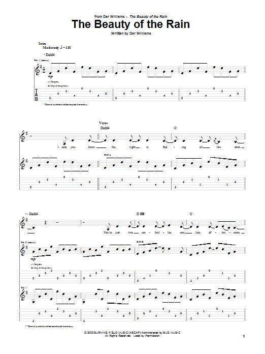 Tablature guitare The Beauty Of The Rain de Dar Williams - Tablature Guitare