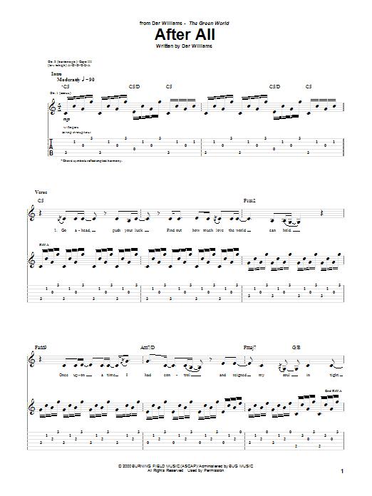 Tablature guitare After All de Dar Williams - Tablature Guitare