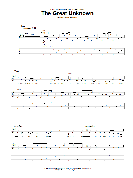 Tablature guitare The Great Unknown de Dar Williams - Tablature Guitare