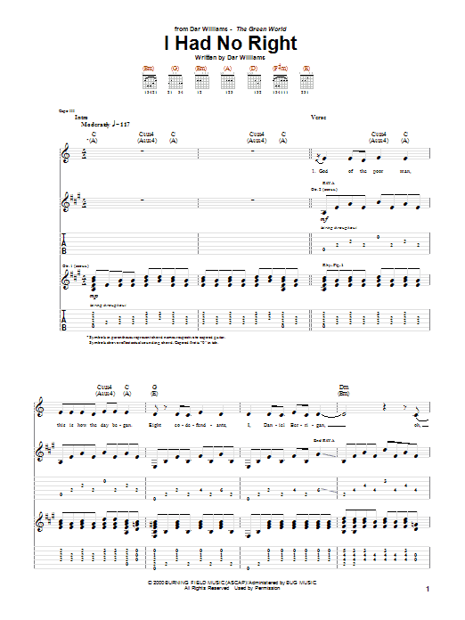 Tablature guitare I Had No Right de Dar Williams - Tablature Guitare