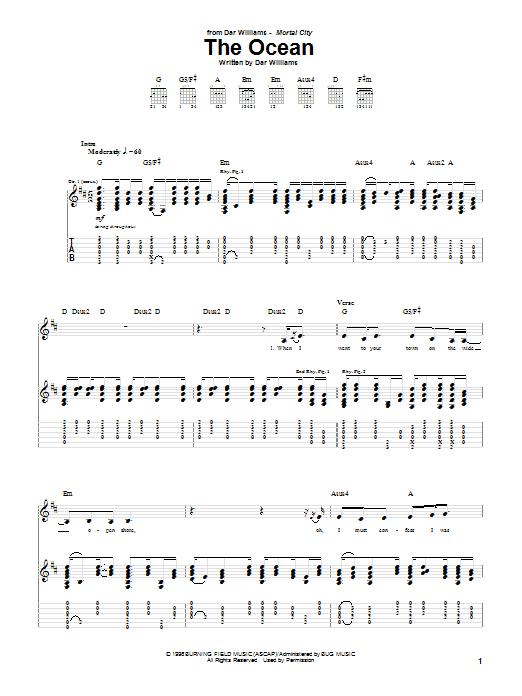 Tablature guitare The Ocean de Dar Williams - Tablature Guitare