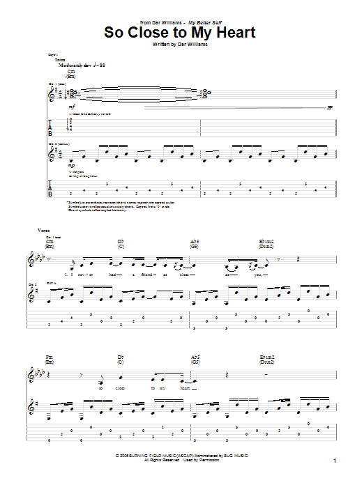 Tablature guitare So Close To My Heart de Dar Williams - Tablature Guitare