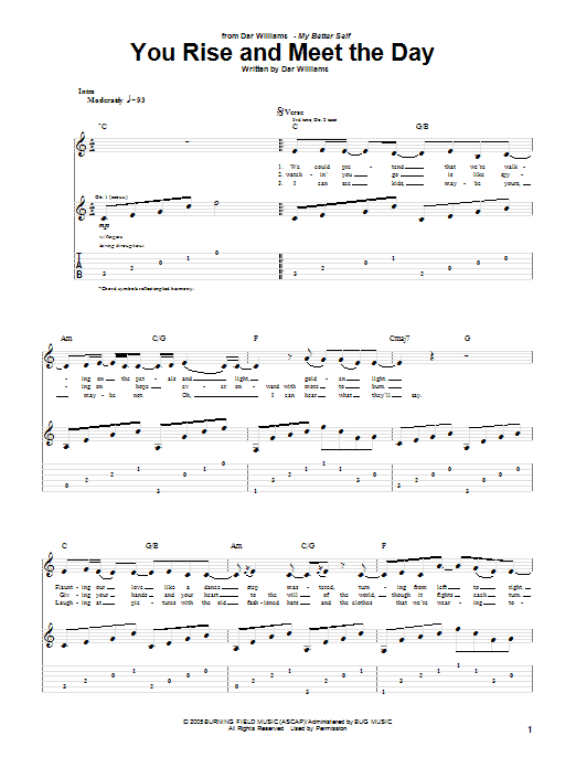 Tablature guitare You Rise And Meet The Day de Dar Williams - Tablature Guitare