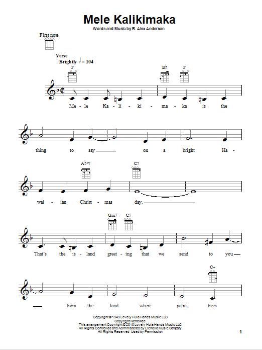 Tablature guitare Mele Kalikimaka (Merry Christmas In Hawaii) de Bing Crosby - Ukulele