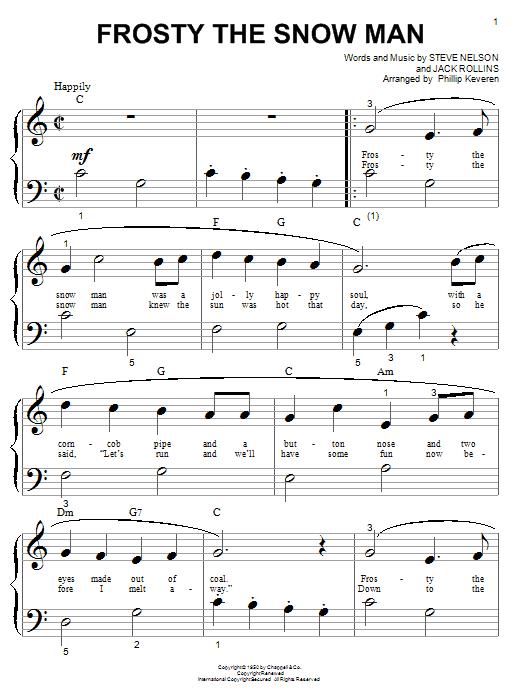 Partition piano Frosty The Snow Man de Jack Rollins - Piano Facile