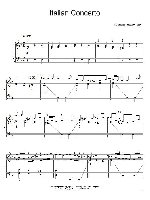 Partition piano Italian Concerto In F de Johann Sebastian Bach - Piano Facile