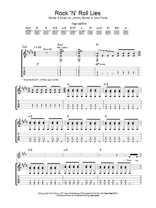 Rock 'N' Roll Lies sheet music for guitar solo (tablature) by Johnny Borrell
