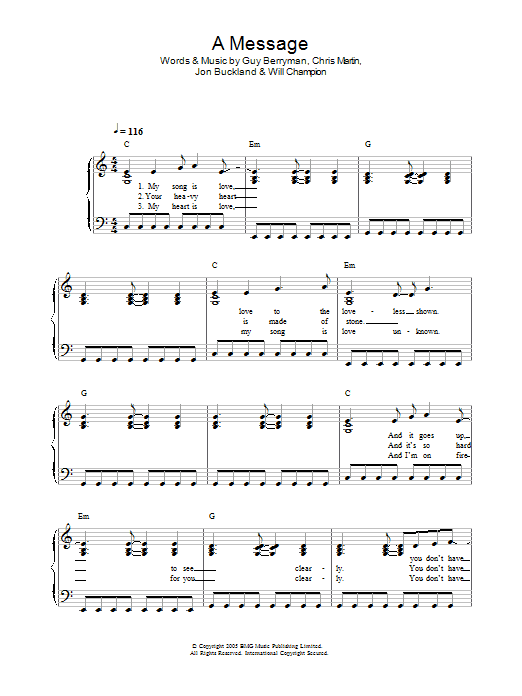 A Message sheet music for piano solo (chords) by Will Champion