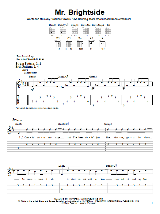 Tablature guitare Mr. Brightside de The Killers - Tablature guitare facile
