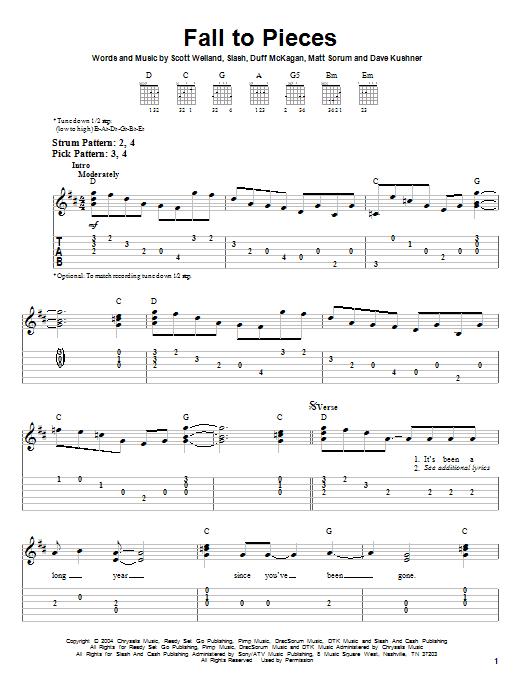 Tablature guitare Fall To Pieces de Velvet Revolver - Tablature guitare facile