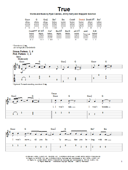 Tablature guitare True de Ryan Cabrera - Tablature guitare facile