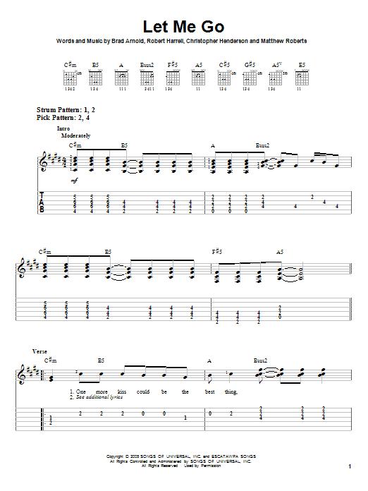 Tablature guitare Let Me Go de 3 Doors Down - Tablature guitare facile