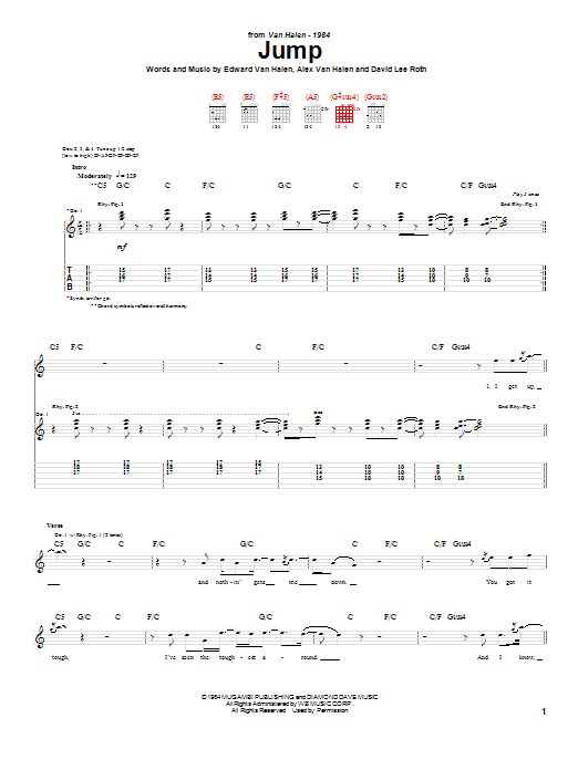 Tablature guitare Jump de Van Halen - Tablature Guitare