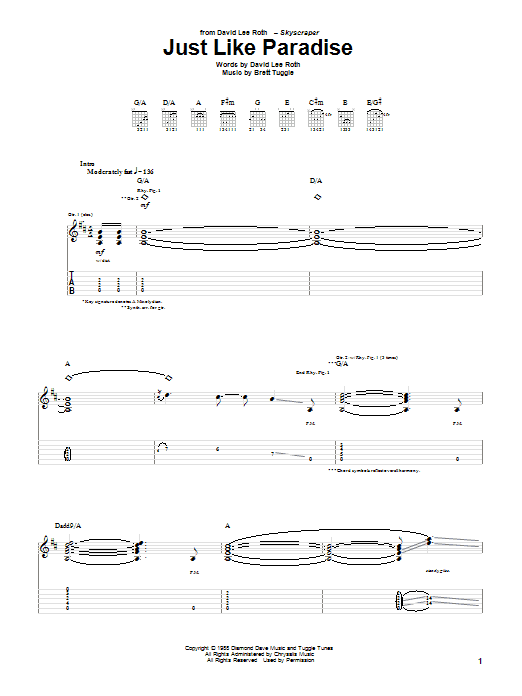 Tablature guitare Just Like Paradise de David Lee Roth - Tablature Guitare