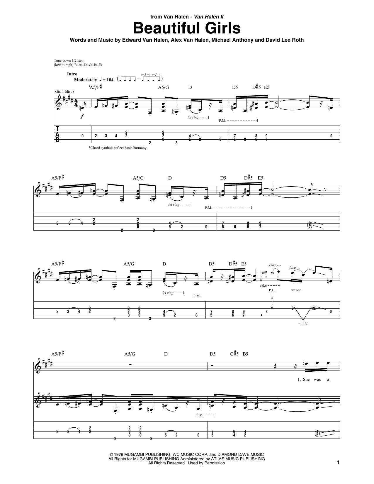 Tablature guitare Beautiful Girls de Van Halen - Tablature Guitare