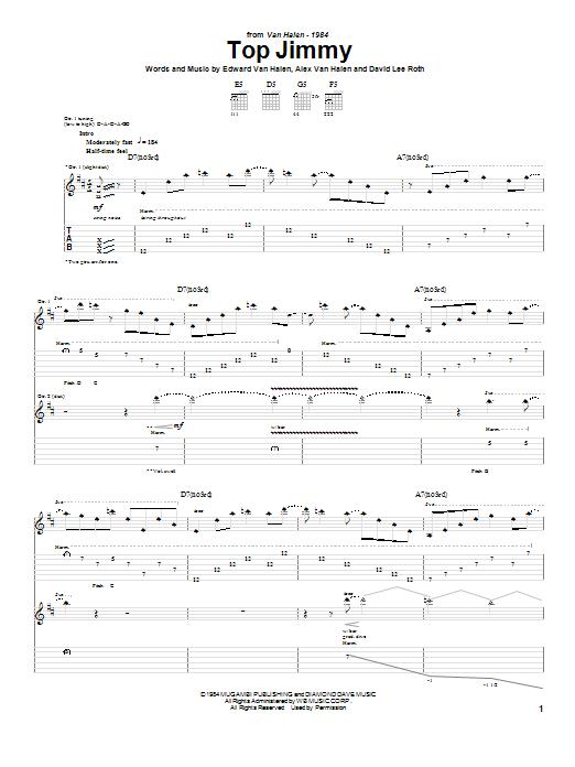 Tablature guitare Top Jimmy de Van Halen - Tablature Guitare