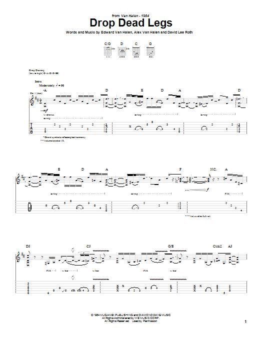 Tablature guitare Drop Dead Legs de Van Halen - Tablature Guitare
