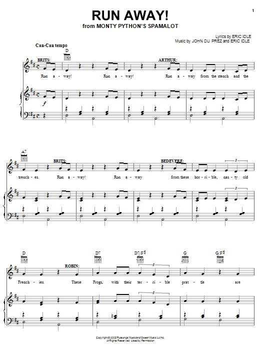 Run Away! sheet music for voice, piano or guitar by John Du Prez