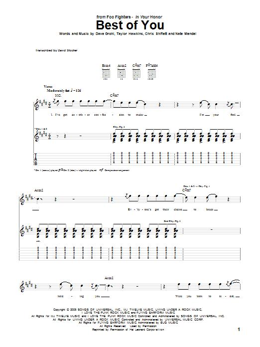 Tablature guitare Best Of You de Foo Fighters - Tablature Guitare