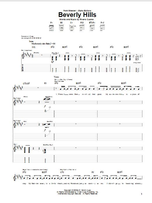 Tablature guitare Beverly Hills de Weezer - Tablature Guitare