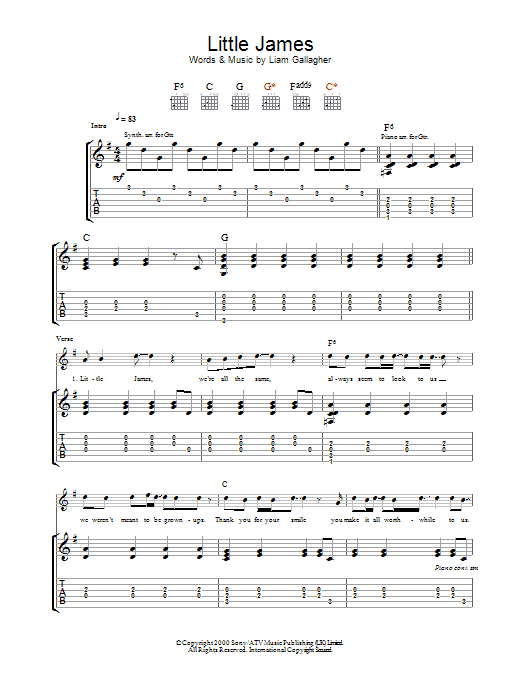Little James sheet music for guitar solo (tablature) by Noel Gallagher