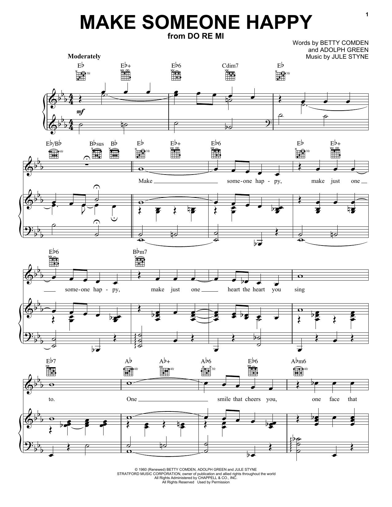 Partition piano Make Someone Happy de Jimmy Duarante - Piano Voix Guitare (Mélodie Main Droite)