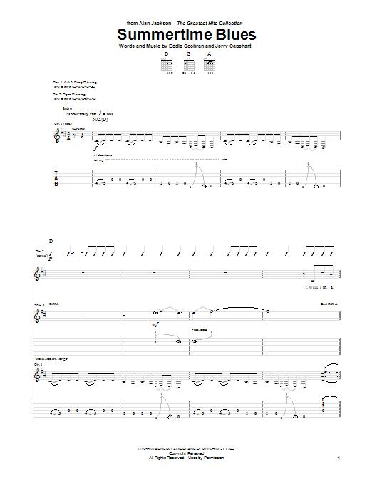 Tablature guitare Summertime Blues de Alan Jackson - Tablature Guitare