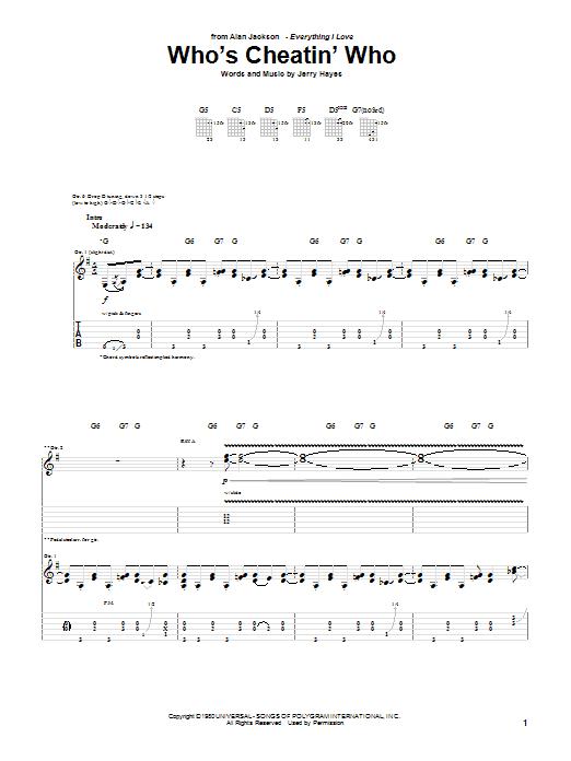 Tablature guitare Who's Cheatin' Who de Alan Jackson - Tablature Guitare
