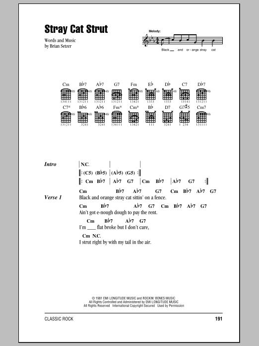 Stray Cat Strut By Stray Cats Guitar Chords Lyrics