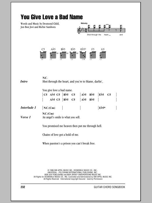 Songtext von Bon Jovi - You Give Love a Bad Name Lyrics