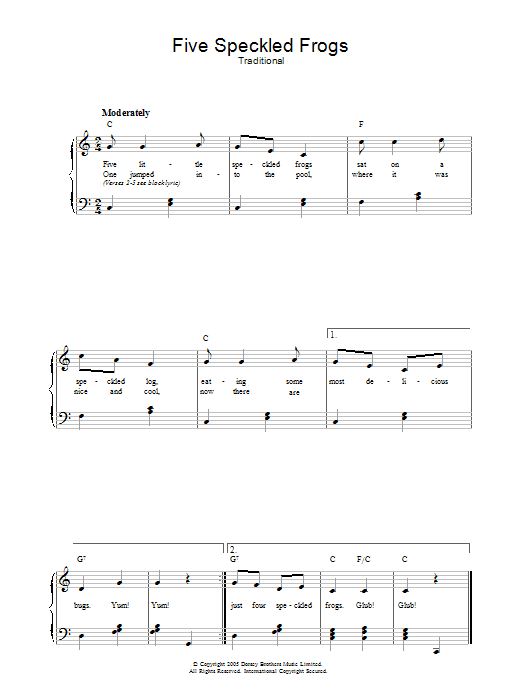 5 little frogs song lyrics