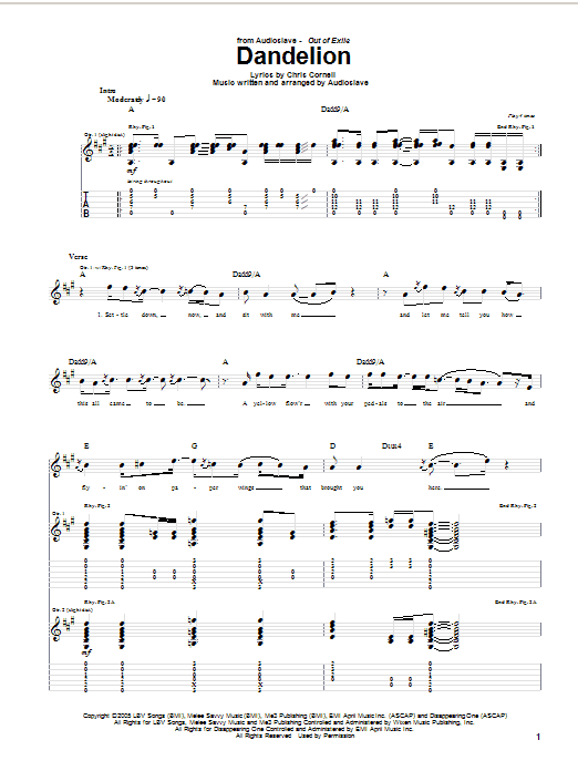 Tablature guitare Dandelion de Audioslave - Tablature Guitare