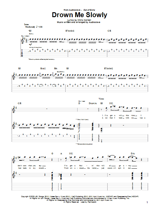 Drown Me Slowly sheet music for guitar solo (tablature) by Chris Cornell