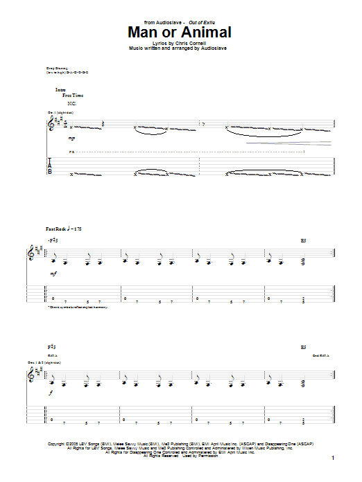 Tablature guitare Man Or Animal de Audioslave - Tablature Guitare