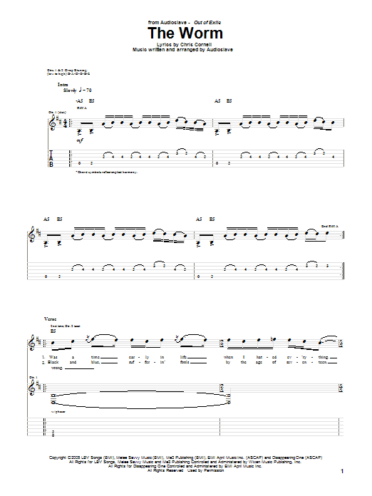 Tablature guitare The Worm de Audioslave - Tablature Guitare