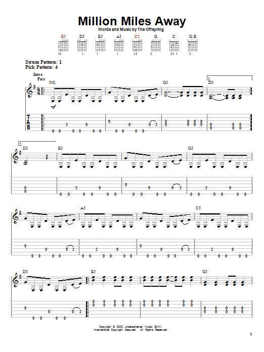 Tablature guitare Million Miles Away de The Offspring - Tablature guitare facile