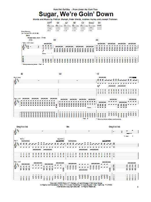 Tablature guitare Sugar, We're Goin' Down de Fall Out Boy - Tablature Guitare