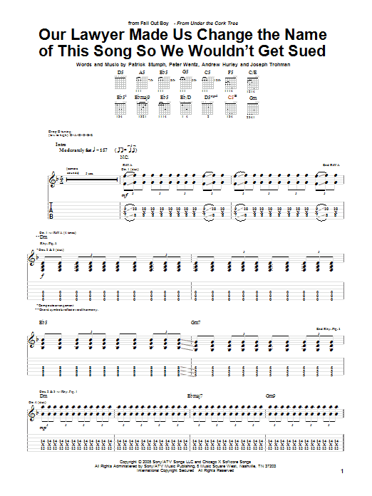 Tablature guitare Our Lawyer Made Us Change The Name Of This Song So We Wouldn't Get Sued de Fall Out Boy - Tablature Guitare