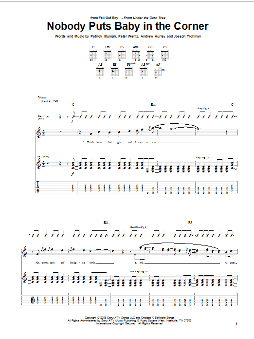 Tablature guitare Nobody Puts Baby In The Corner de Fall Out Boy - Tablature Guitare