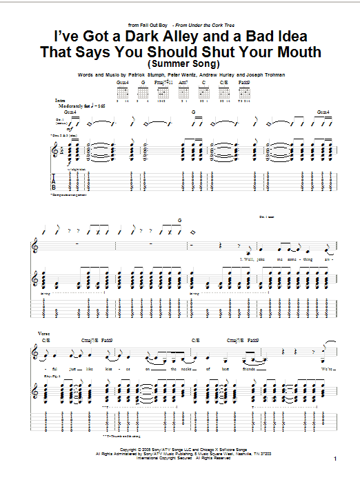 Tablature guitare I've Got A Dark Alley And A Bad Idea That Says You Should Shut Your Mouth (Summer Song) de Fall Out Boy - Tablature Guitare
