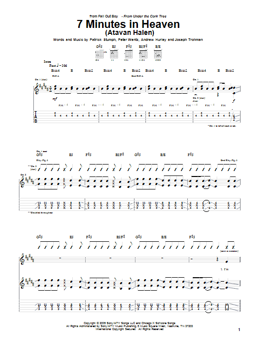 Tablature guitare 7 Minutes In Heaven (Atavan Halen) de Fall Out Boy - Tablature Guitare