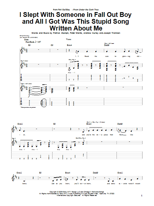 Tablature guitare I Slept With Someone In Fall Out Boy And All I Got Was This Stupid Song Written About Me de Fall Out Boy - Tablature Guitare