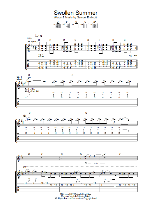 Swollen Summer sheet music for guitar solo (tablature) by Samuel Endicott