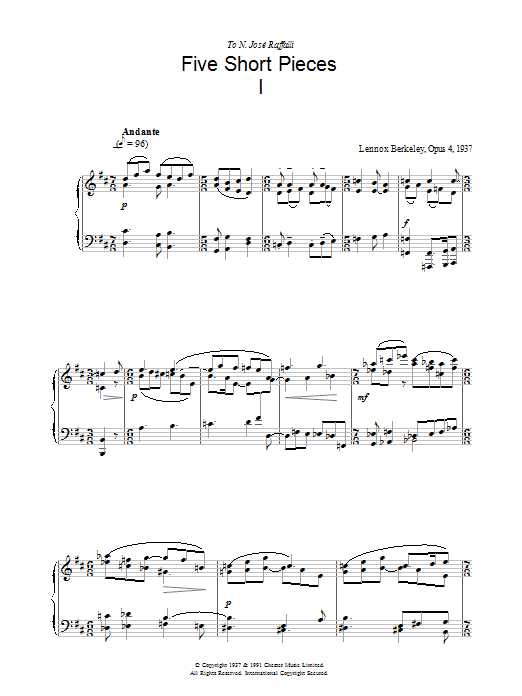 Five Short Pieces, No. 1, Op. 4 sheet music for piano solo by Lennox Berkeley