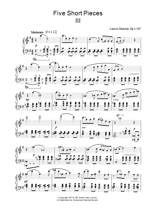 Five Short Pieces, No. 3, Op. 4 sheet music for piano solo by Lennox Berkeley